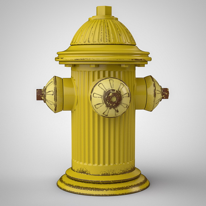Yellow Fire Hydrant 3d rendering