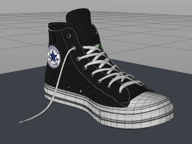 Black Converse Shoes High Tops 3d rendering