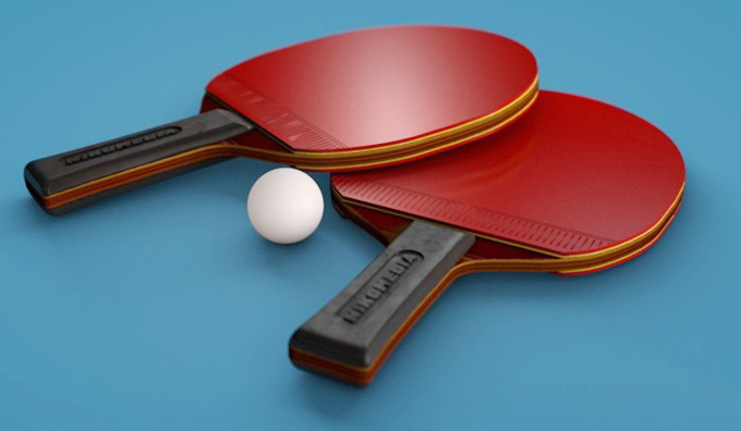 Ping Pong Table Tennis Rackets Ball 3d rendering