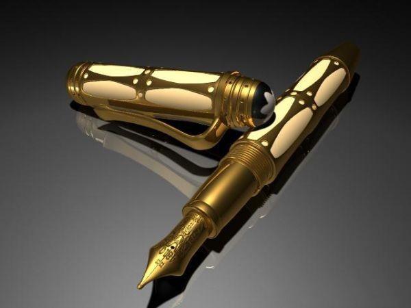 Golden Pen 3d rendering