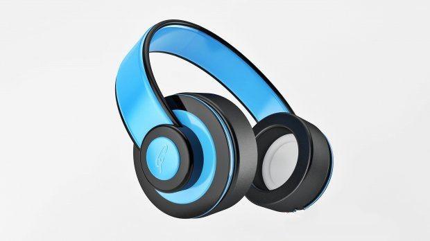 Blue Headphone 3d rendering