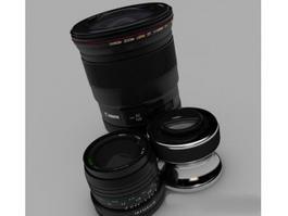 Canon Camera Lenses 3d preview