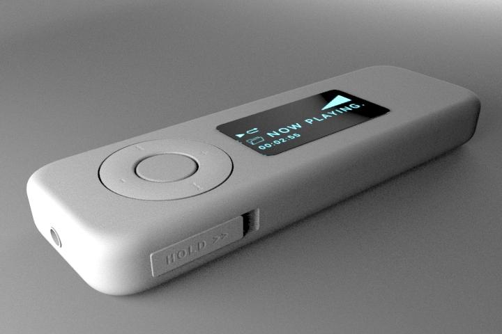 MP3 Player with Earphones 3d rendering