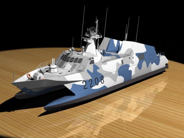 Torpedo Boat 3d rendering