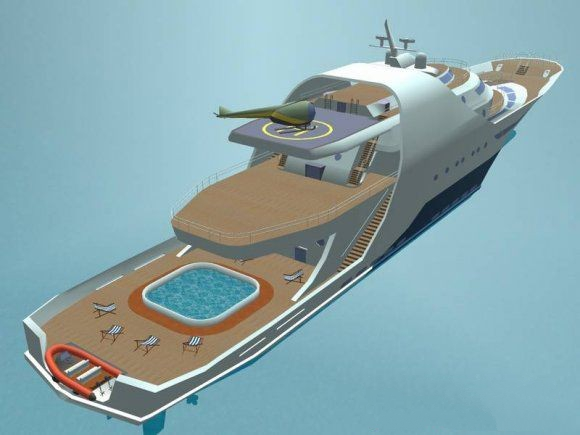 Super Luxury Motor Yacht 3d rendering