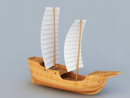 Old World Sailing Ship 3d model preview