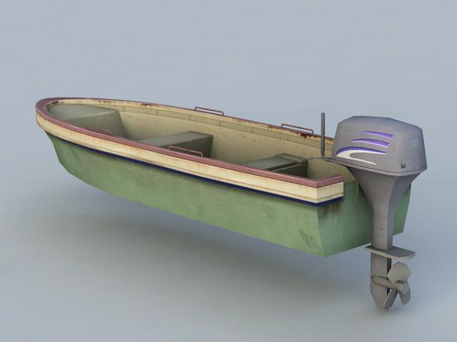 Old Motor Boat 3d rendering