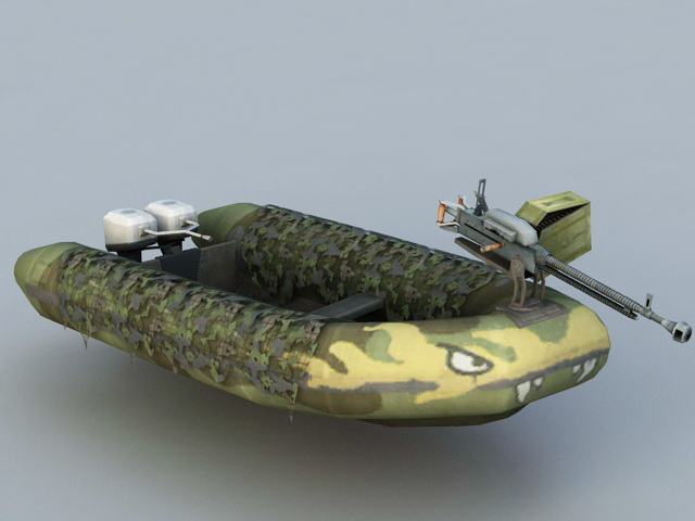 Armored Inflatable Boat 3d rendering