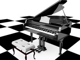Piano and Stool 3d preview