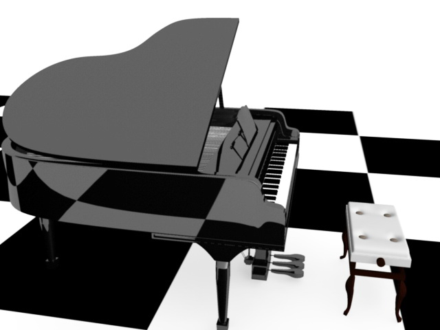 Piano and Stool 3d rendering