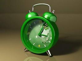 Cute Green Alarm Clock 3d model preview
