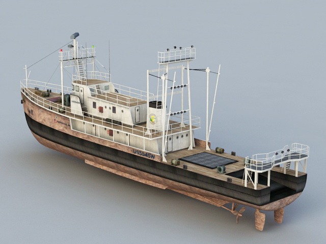 Old Fishing Ship 3d rendering