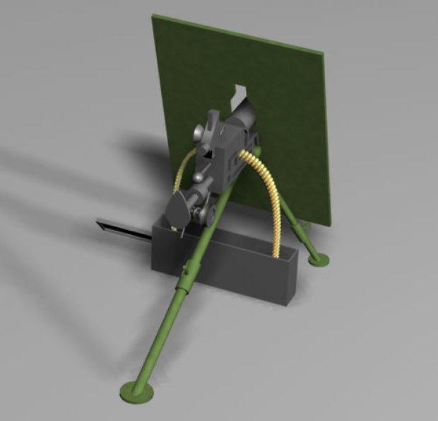 Skoda M1909 Machine Gun 3d rendering