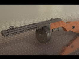 PPSh-41 with Drum Magazine 3d model preview