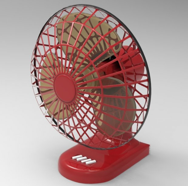 Retro Table Fan 3d rendering