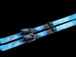Blue Alpine Skis 3d preview
