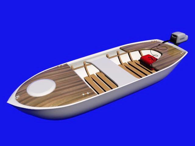 Motor Fishing Boat 3d rendering