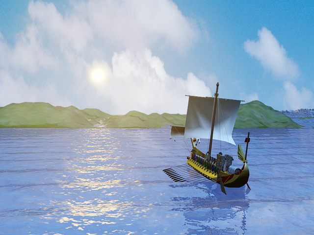 Ocean Sunset Boat 3d rendering