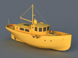 Cartoon Tug Boat 3d model preview