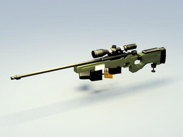 AWM Sniper Rifle 3d rendering