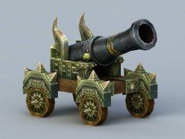 Vintage Cannon Weapon 3d model preview