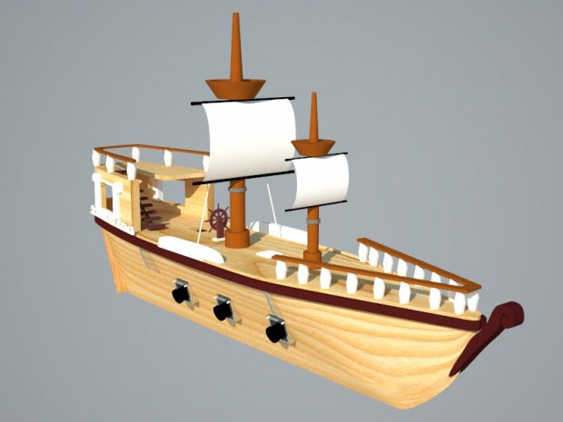 Cartoon Pirate Ship 3d rendering