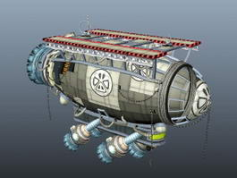 Steampunk Airship and Submarine 3d preview