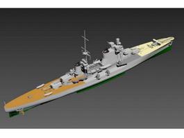 Navy Destroyer Ship 3d model preview