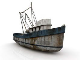 Vintage Fishing Boat 3d model preview