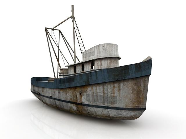 Vintage Fishing Boat 3d rendering