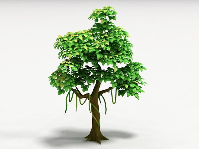Cartoon Tree 3d rendering