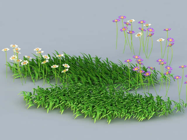 Grass and Flowers 3d rendering
