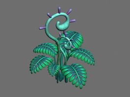 Anime Fern Plant 3d preview