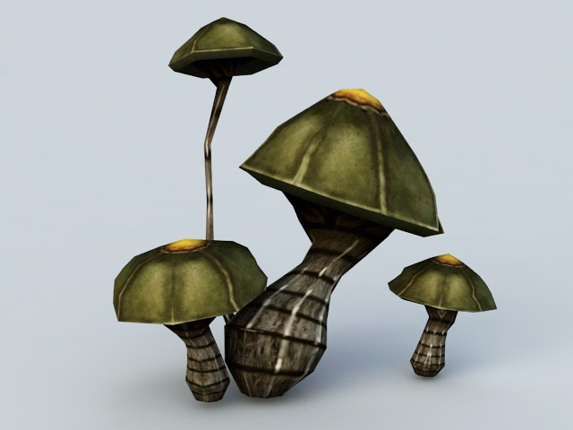 Black Mushrooms 3d rendering