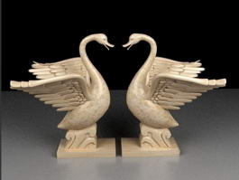 Beautiful Swan Statue 3d preview