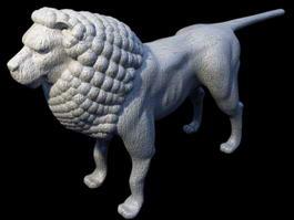 Lion Stone Statue 3d model preview