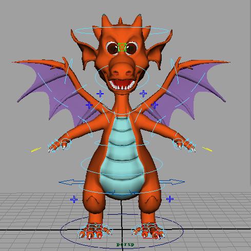 Cartoon Dragon Rigged 3d rendering