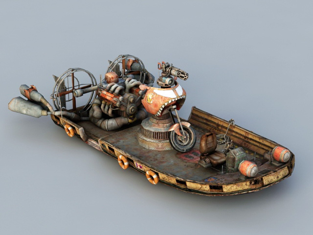 Steampunk Hovercraft 3d rendering