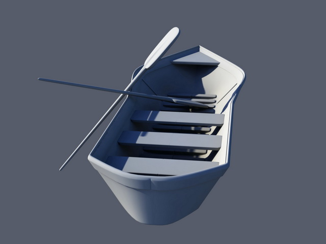 Small Row Boat 3d rendering