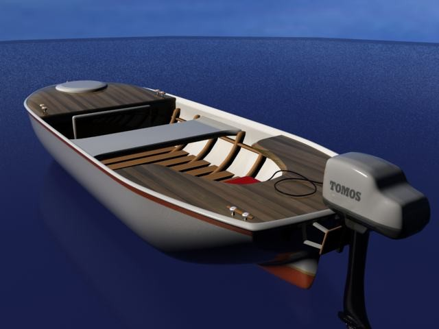 Fishing Motor Boat 3d rendering