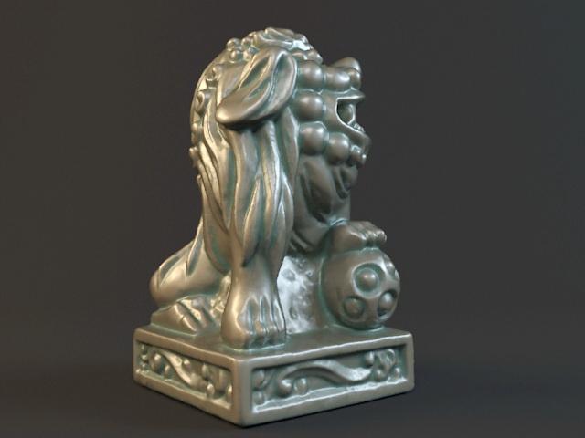 Antique Bronze Lion Statue 3d rendering