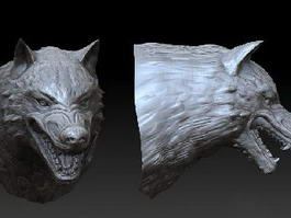 Wolf Head Sculpture 3d model preview