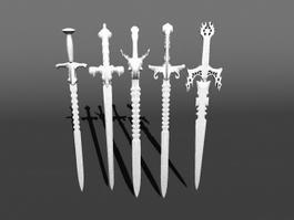 Serrated Long Swords 3d preview