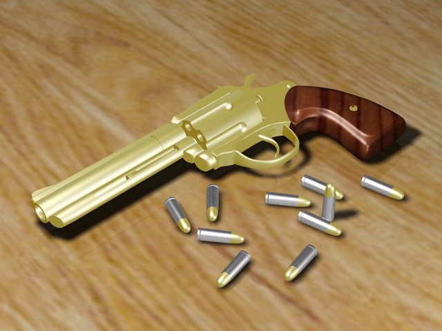 Golden Revolver and Bullets 3d rendering