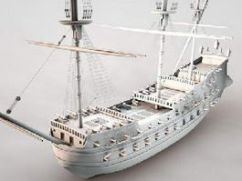 Old Pirate Ship 3d model preview