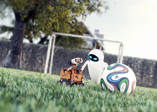 WALL-E and EVE 3d rendering