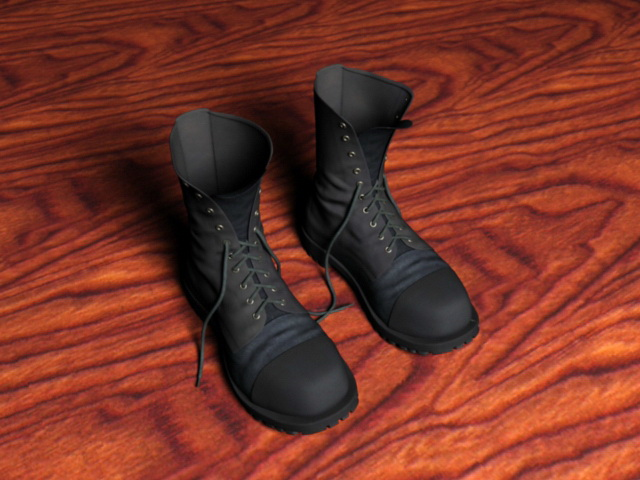 Black Combat Boot 3d rendering