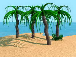 Cartoon Palm Tree 3d model preview