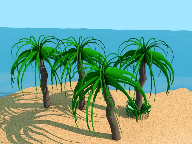 Cartoon Palm Tree 3d rendering