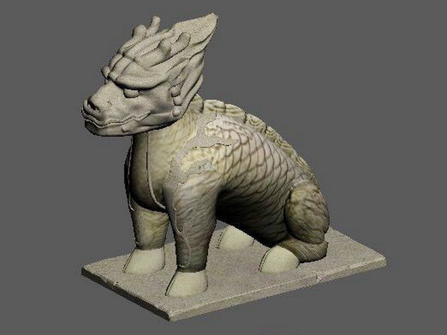 Chinese Qilin Statue 3d rendering
